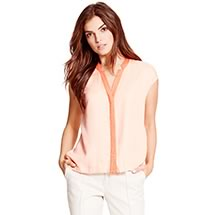 SLEEVELESS NOTCH COLLAR BLOUSE