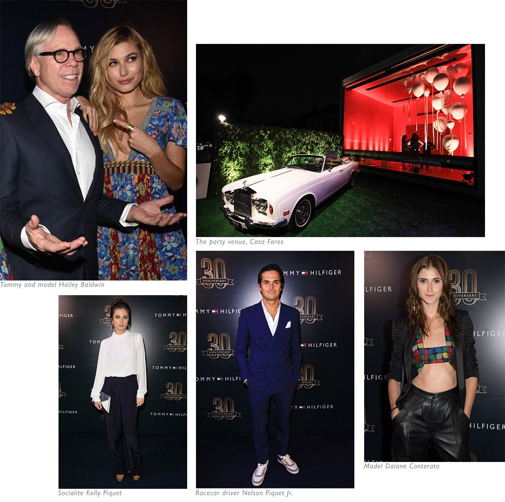 Tommy and model Hailey Baldwin, The party venue, Casa Fares, Socialite Kelly Piquet, Racecar driver Nelson Piquet Jr., Model Daiane Conterato