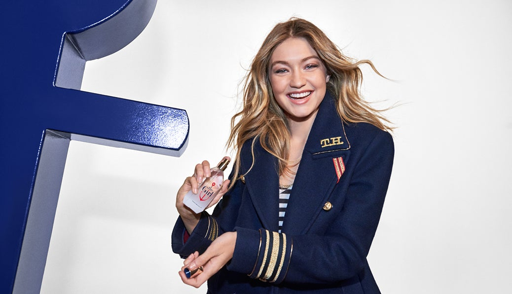 BTS with Gigi Hadid for Tommy Hilfiger's The Girl fragrance shoot