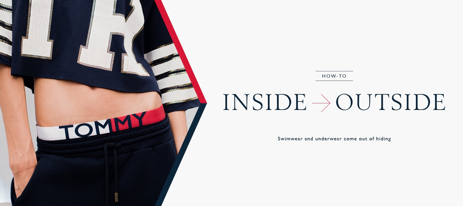 Female model wearing cropped Tommy Hilfiger sweater and Tommy  underwear with a red and white waistband