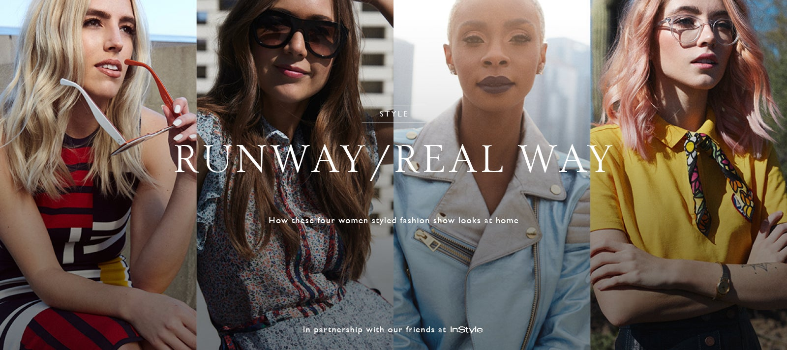 Four women modeling Tommy Hilfiger- 'from runway to real way'.