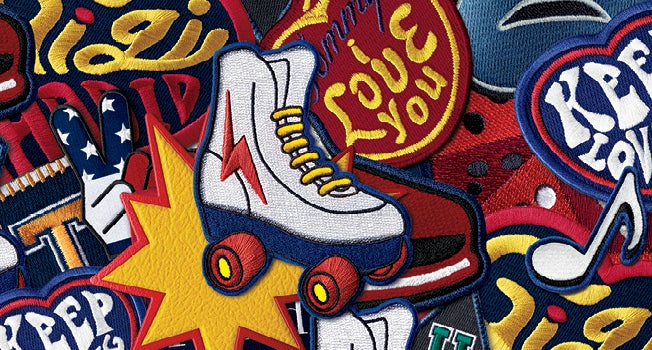 Groovy Gigi Hadid for Tommy Hilfiger embroidered roller skate and peace sign patches