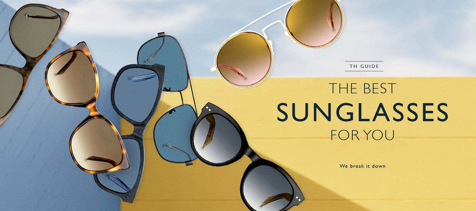 An assortment of Tommy Hilfiger sunglasses in a variety of lens shades and shapes.