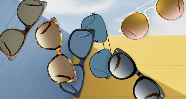 Floating mirrored and aviator sunglasses in warm and cool shades