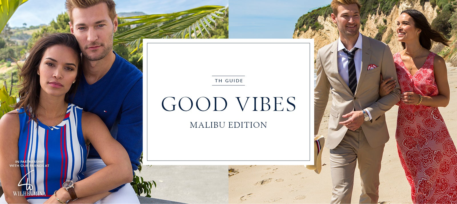 Male and female model on the beach wearing Tommy Hilfiger in two photos- casual apparel in one, more formal in the second.