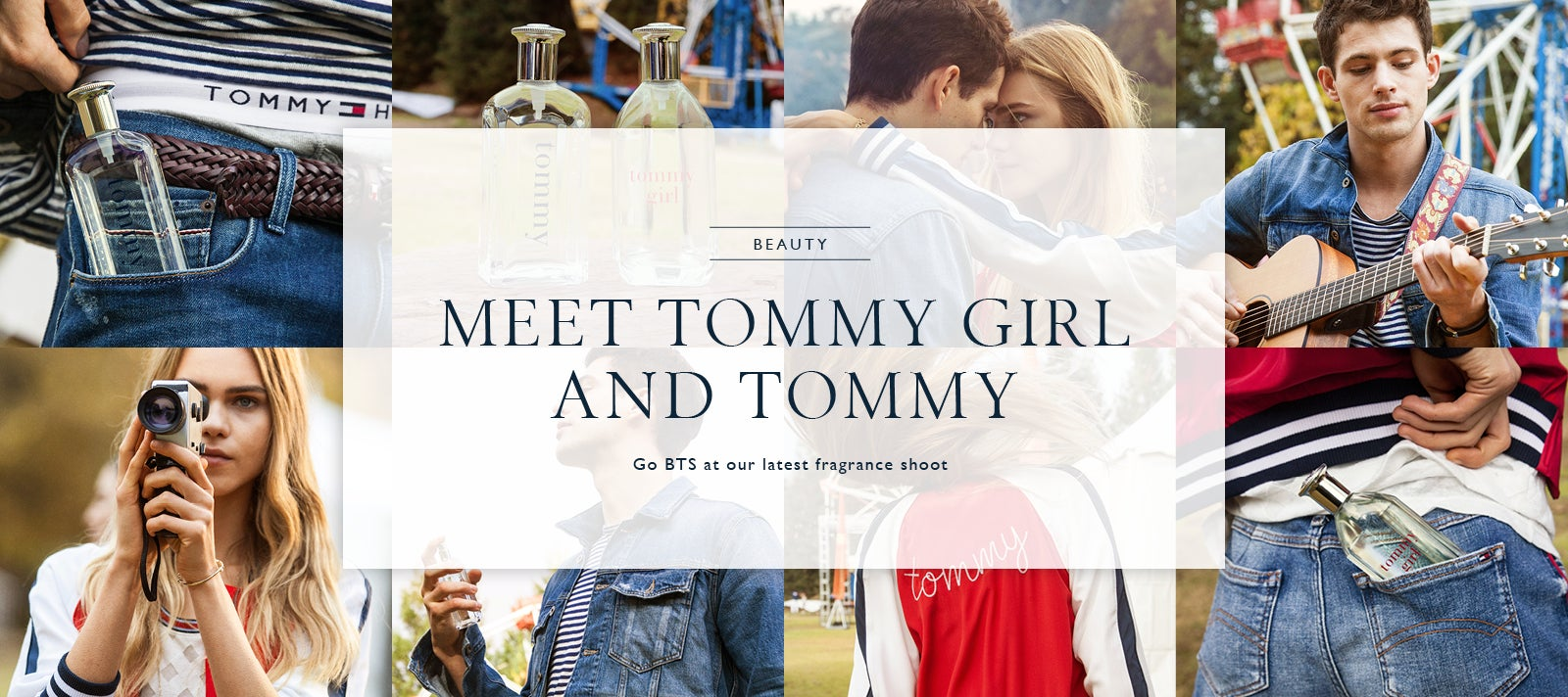 A collage of behind the scenes photos at a country fair featuring two models as 'Tommy' and 'Tommy Girl', promoting our latest line of fragrances.