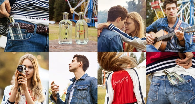 Two by four photo grid showing male and female modeling clothes and fragrances