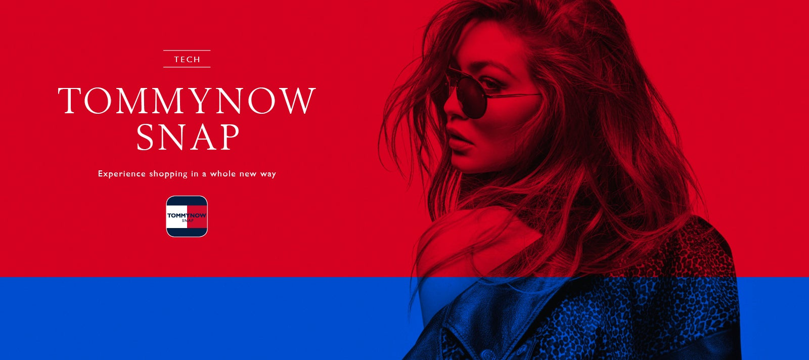 A Tommy Snap App promotion featuring model Gigi Hadid in sunglasses wearing a jacket, off the shoulders.