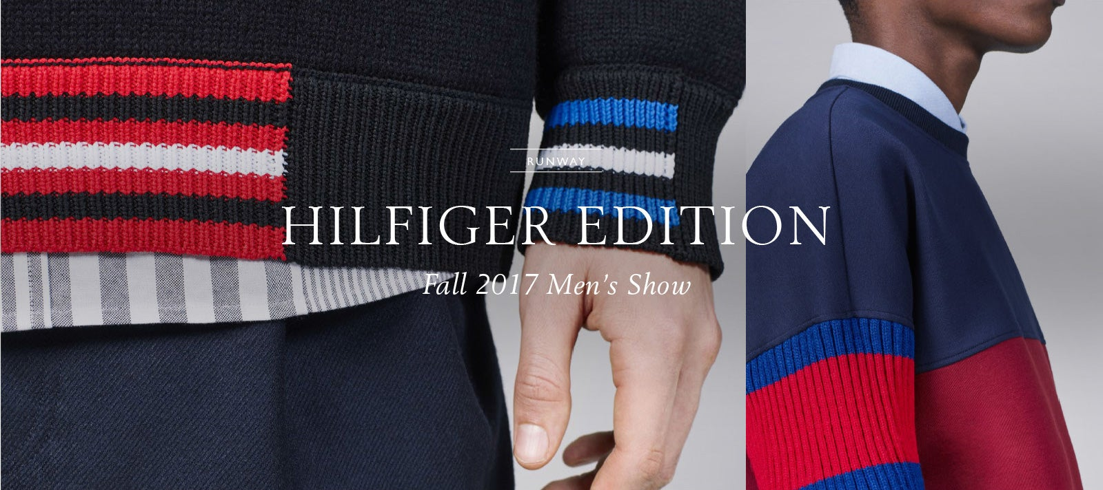 Male model wearing black Hilfiger Edition sweatshirt with striped, ribbed cuff and hem