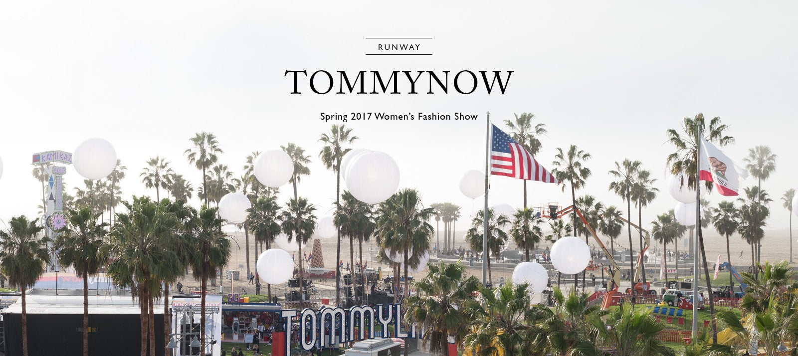 Aerial view of palm trees, runway and American flags from 'Tommyland' in Los Angeles- the Spring 2017 Fashion Show