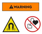 Warning icon, magnet icon, pacemaker warning sign