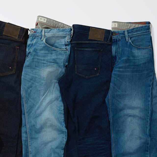 Denim refresh. An assortment of men's jeans in various washes and hues.