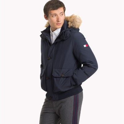 Parka jacket with fur collar