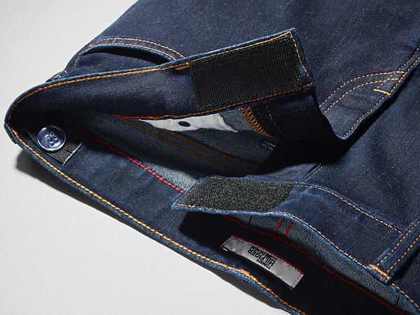 eb032ab21 Image shows jean adapted with a magnetic and hook and loop fly, replacing  traditional button