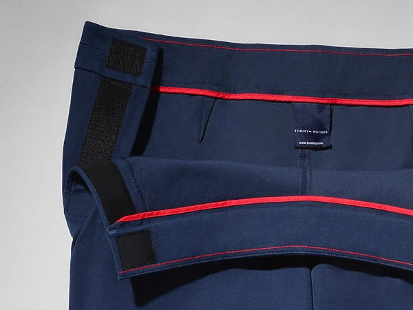 f1fbc4981 Image shows pant adjusted for seated wear, featuring a lower front rise to  reduce bunching